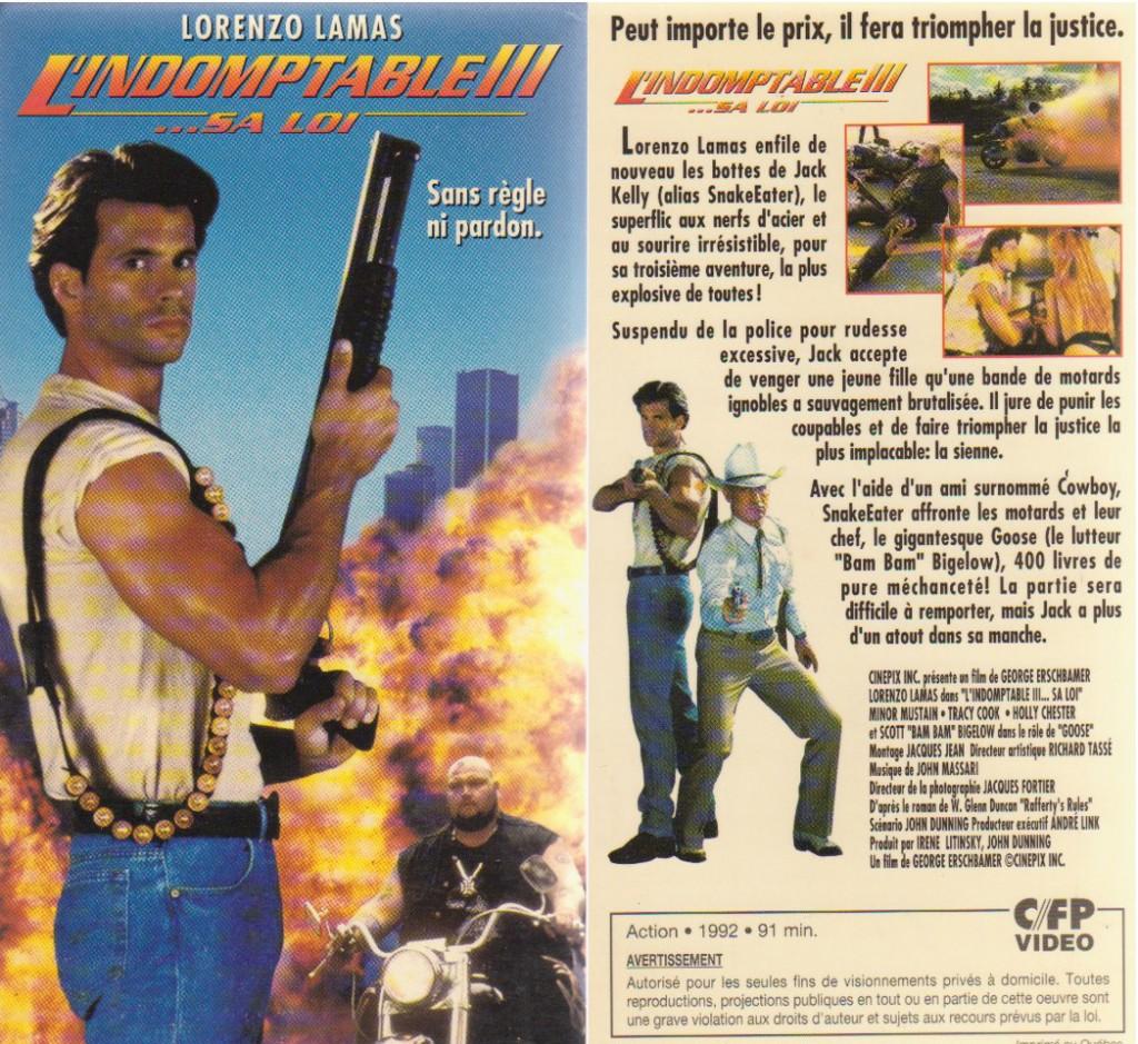 Mon boitier de L'Indomptable III - Sa Loi en VHS