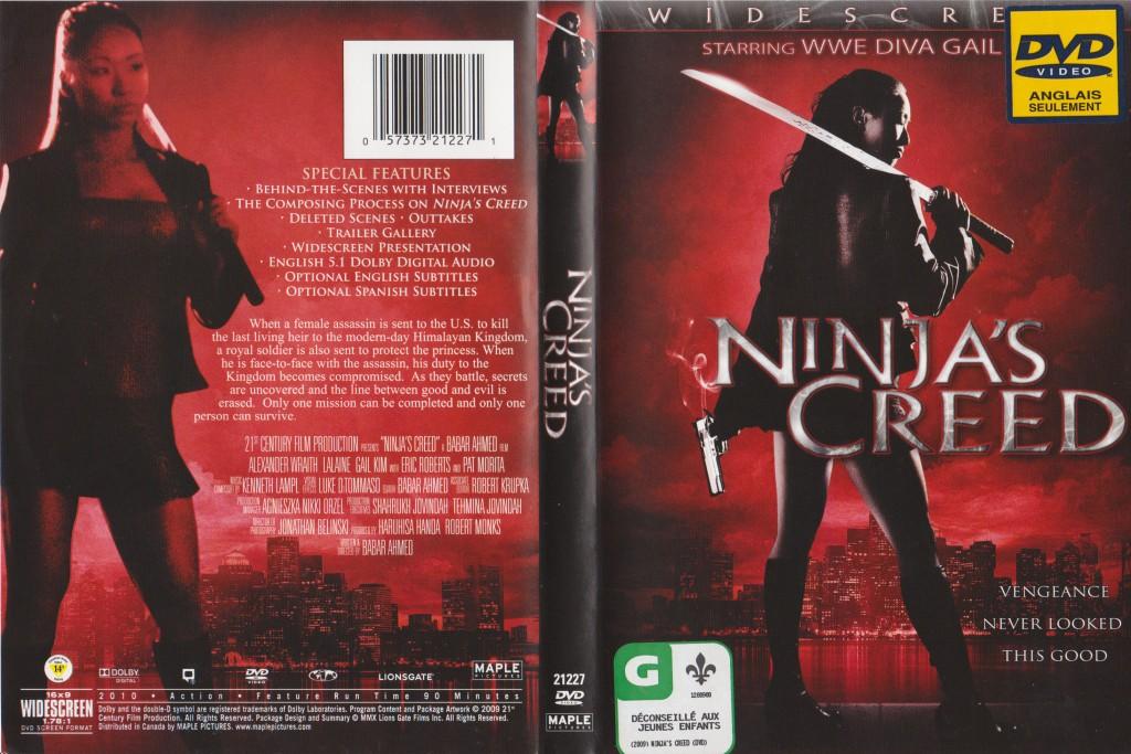 """Ma pochette DVD de Ninja's Creed. """"Déconseillé aux jeunes enfants"""", pas parce que c'est violent, mais parce que si tu ne comprends rien adulte, imagine enfant!"""