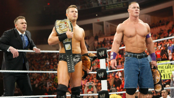 Heath Slater & Justin Gabriel vs. John Cena & The Miz - WWE Tag Team Championship Match