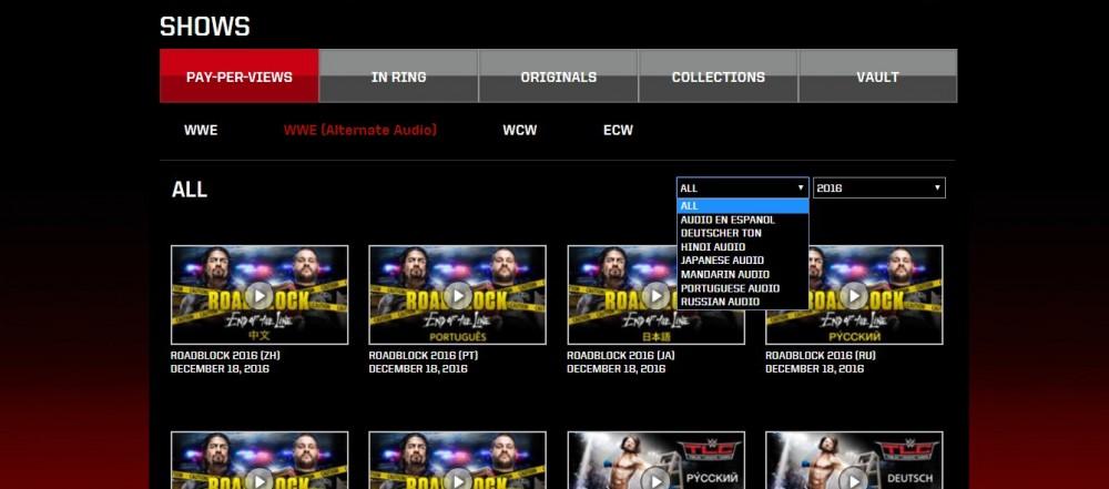 Voici comment sélectionner une autre langue que l'anglais sur le WWE Network crédit: capture d'image du WWE Network
