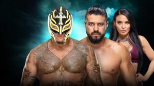 Rey Mysterio c. Andrade accompagné de Zelina Vega