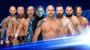 The Hardy Boyz, Aleister Black et Ricochet c. The Bar, Rusev et Shinsuke Nakamura