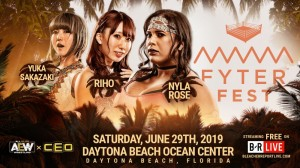 Yuka Sakazaki c. Riho c. Nyla Rose combat triple menace