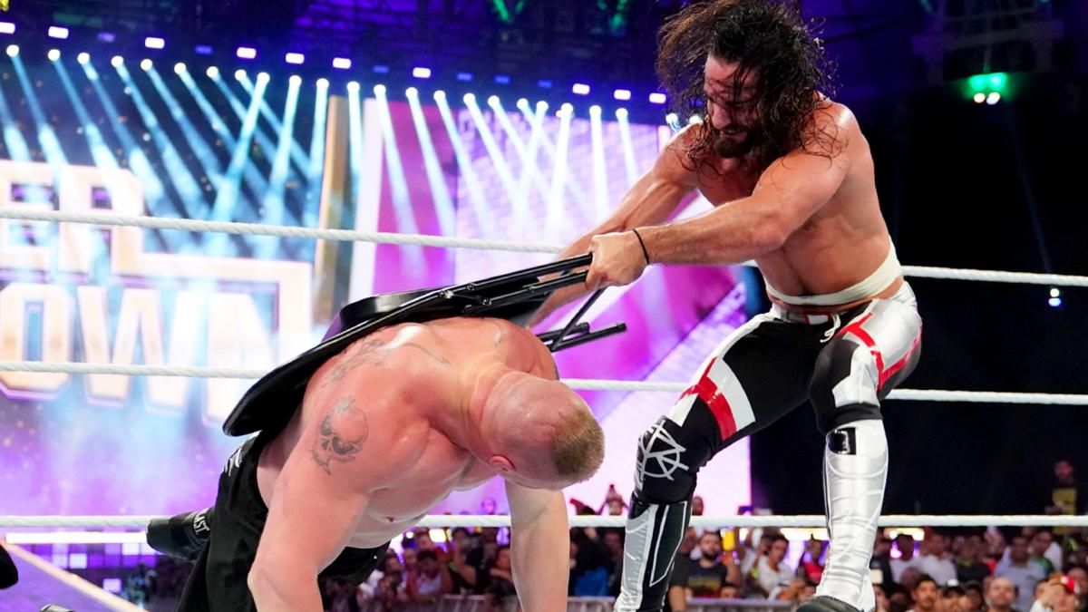 super showdown rollins lesnar