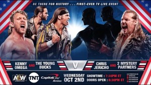 Kenny Omega et The Young Bucks c. Chris Jericho et 2 coéquipiers mystère