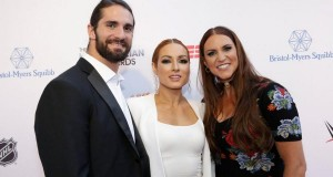 Becky Lynch, Seth Rollins and Stephanie McMahon