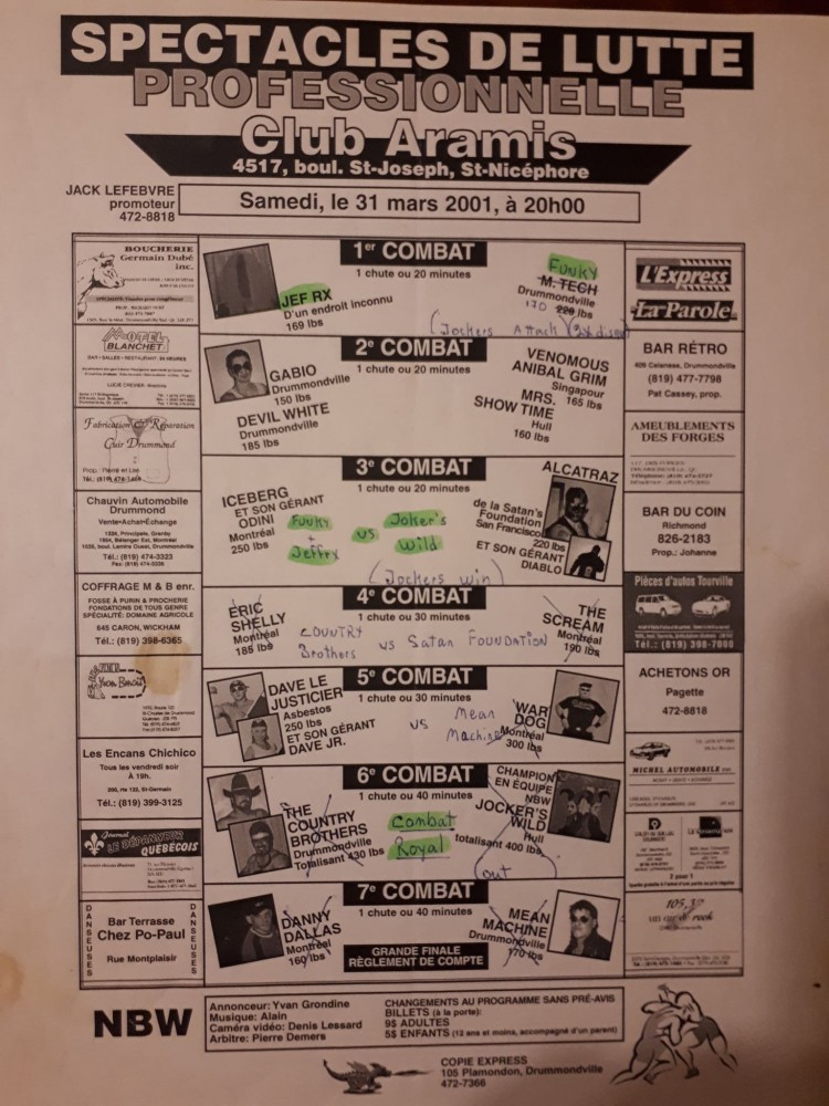 Voici la carte d'un gala de la NBW remontant à 2001.