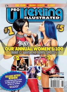 La couverture du magazine mettant l'emphase sur les 5 premières positions qu'occupe la WWE