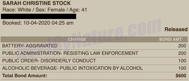 sarah-stock-arrest-record